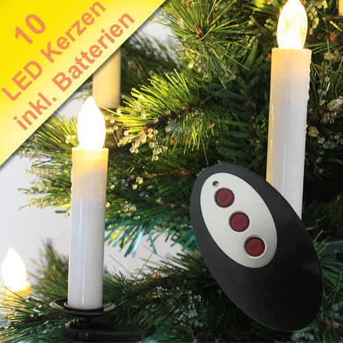 led kerzen kabellos weihnachtskerzen funk lichterkette christbaum inkl batterie ebay. Black Bedroom Furniture Sets. Home Design Ideas