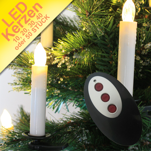 led kerzen kabellos weihnachtskerzen funk lichterkette christbaum inkl batterie. Black Bedroom Furniture Sets. Home Design Ideas
