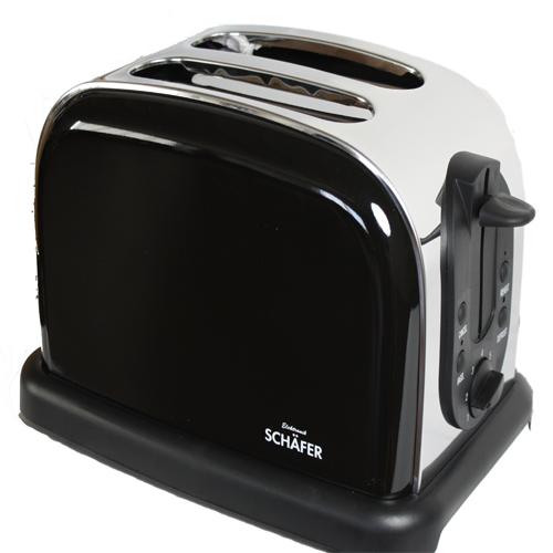 toaster schwarz edelstahl mit schwarzer front bagelfunktion einseitig toasten ebay. Black Bedroom Furniture Sets. Home Design Ideas