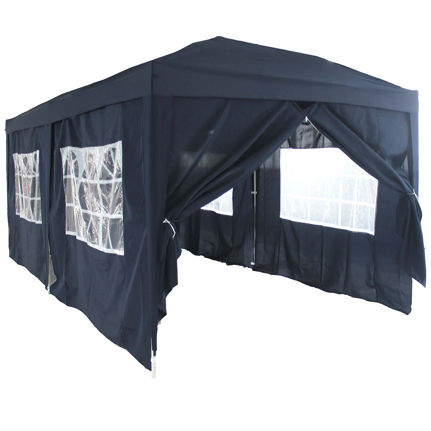 faltpavillon faltzelt partyzelt ruckzuck zelt 3x6m mit seitenteilen schwarz ebay. Black Bedroom Furniture Sets. Home Design Ideas