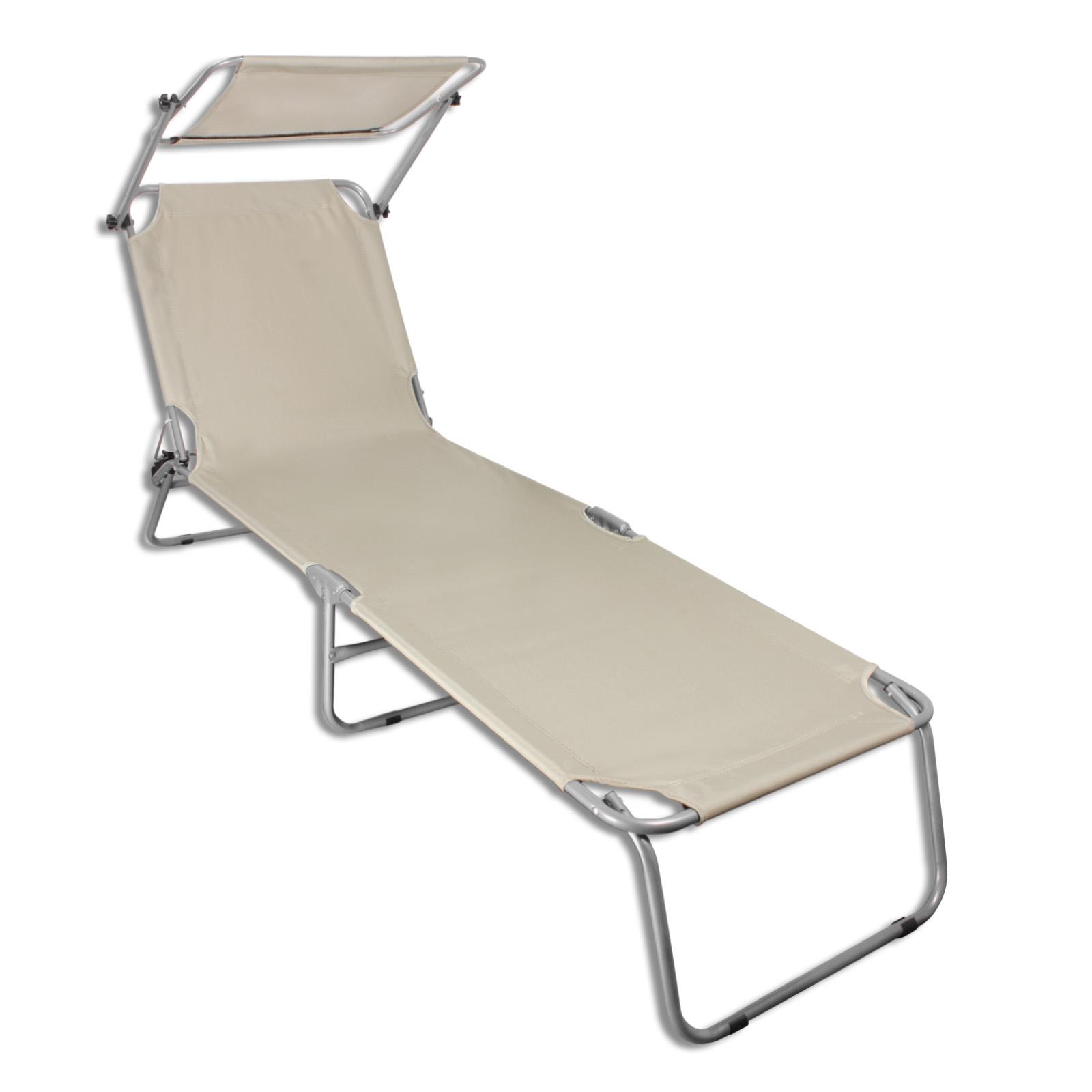 sonnenliege mit sonnendach strandliege gartenliege liegestuhl stahl liege ebay. Black Bedroom Furniture Sets. Home Design Ideas