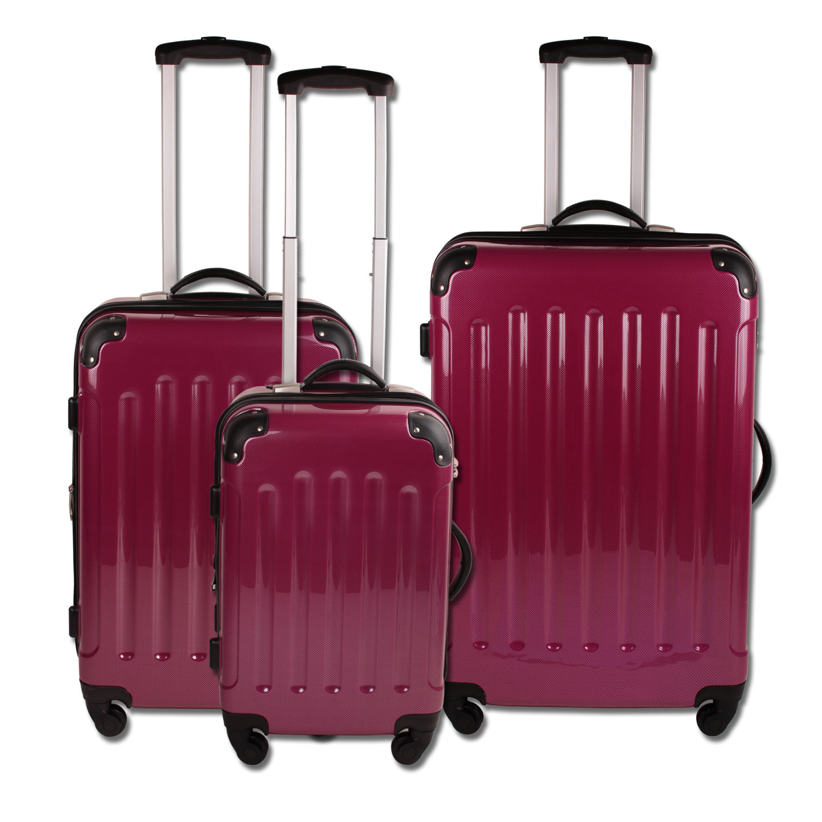 valises 3 pces valise de voyage trolley valise coque rigide en polycarbonate ebay. Black Bedroom Furniture Sets. Home Design Ideas