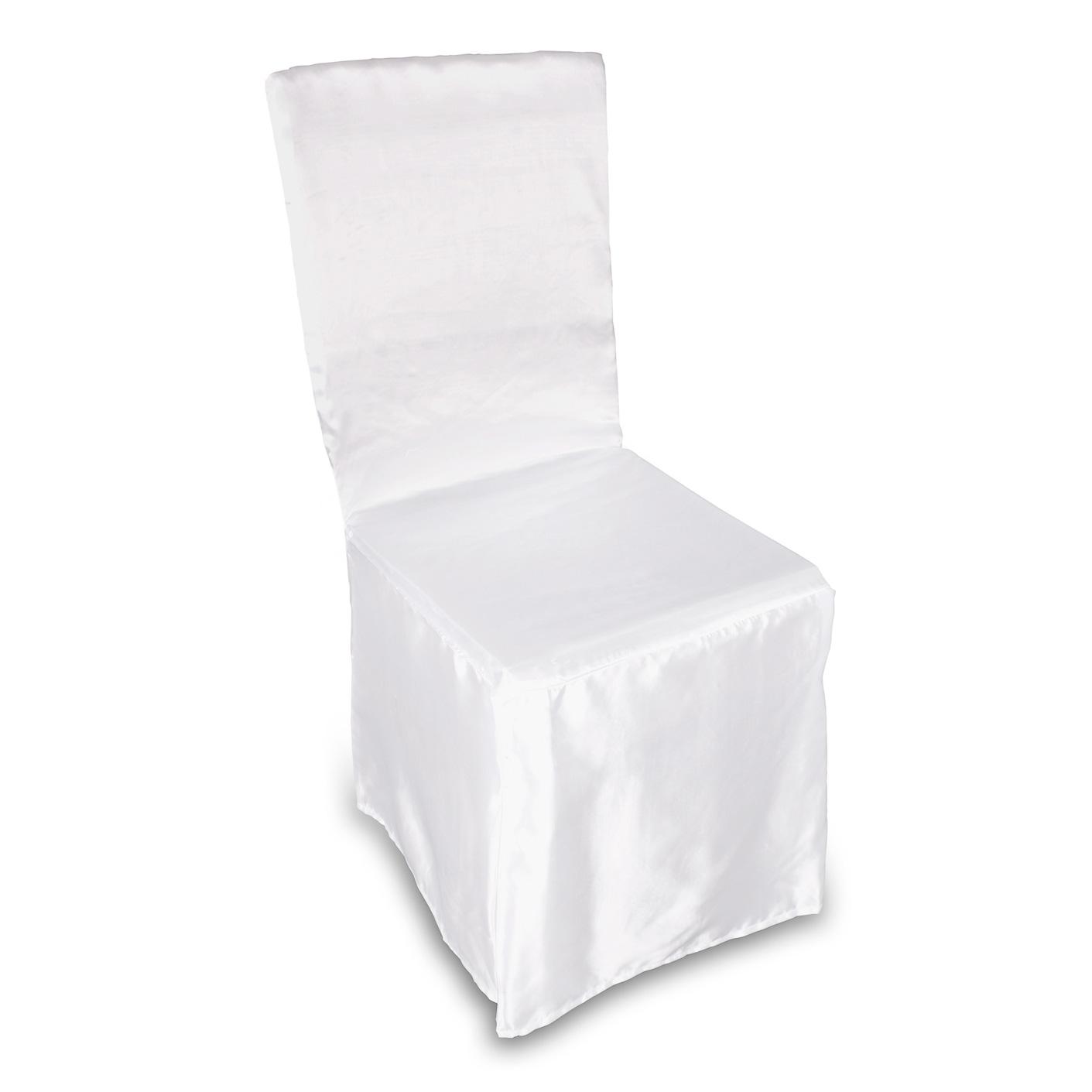 Stuhlhusse Satin Elfenbein weiß einzeln oder im Set  eBay