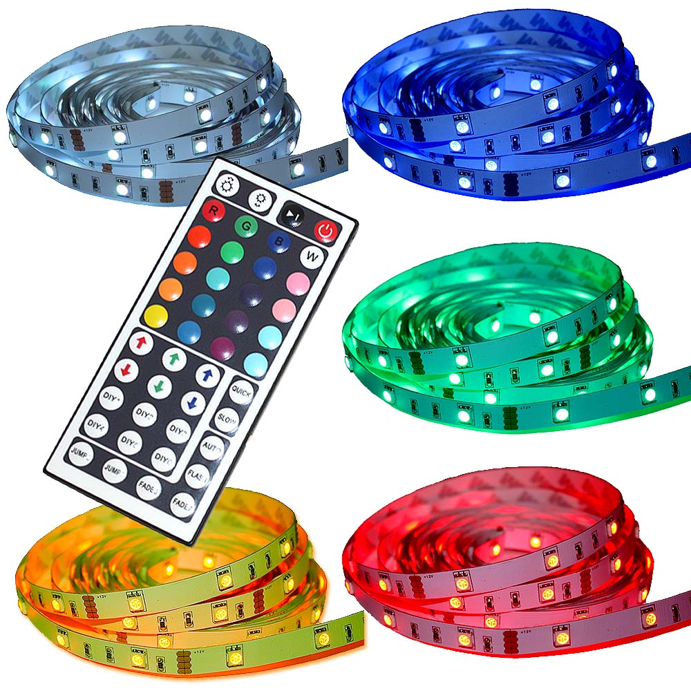 5m led rgb streifen strip 44 keys controller fernbedienung netzteil 5050 smd wow ebay. Black Bedroom Furniture Sets. Home Design Ideas