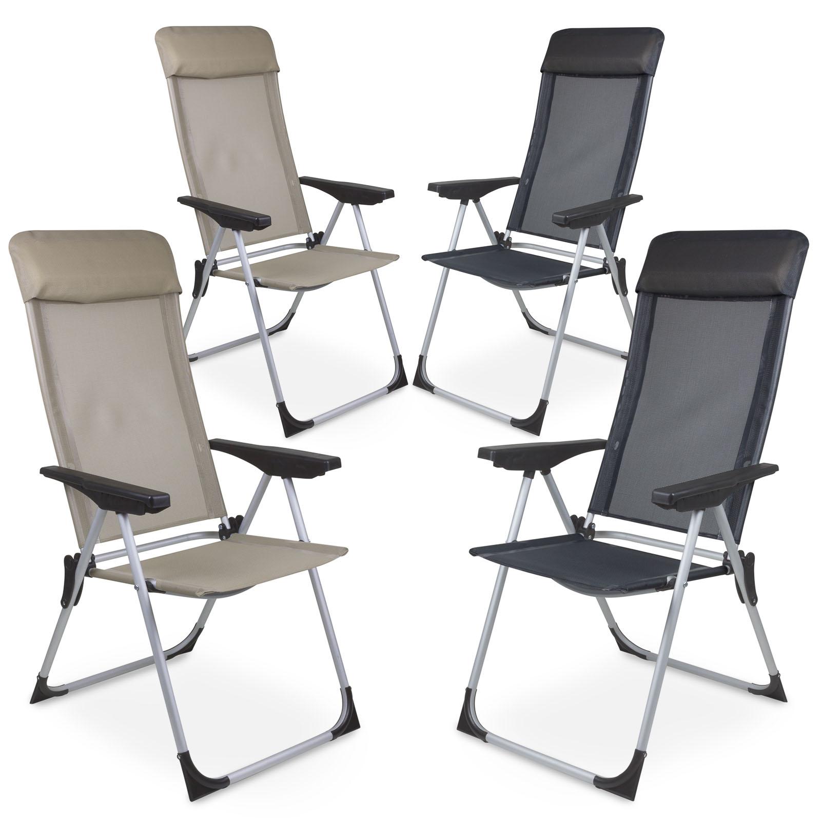 Détails sur 2 Pièce Aluminium Chaise de Jardin Pliante Camping Dossier Haut  en Deux Couleurs