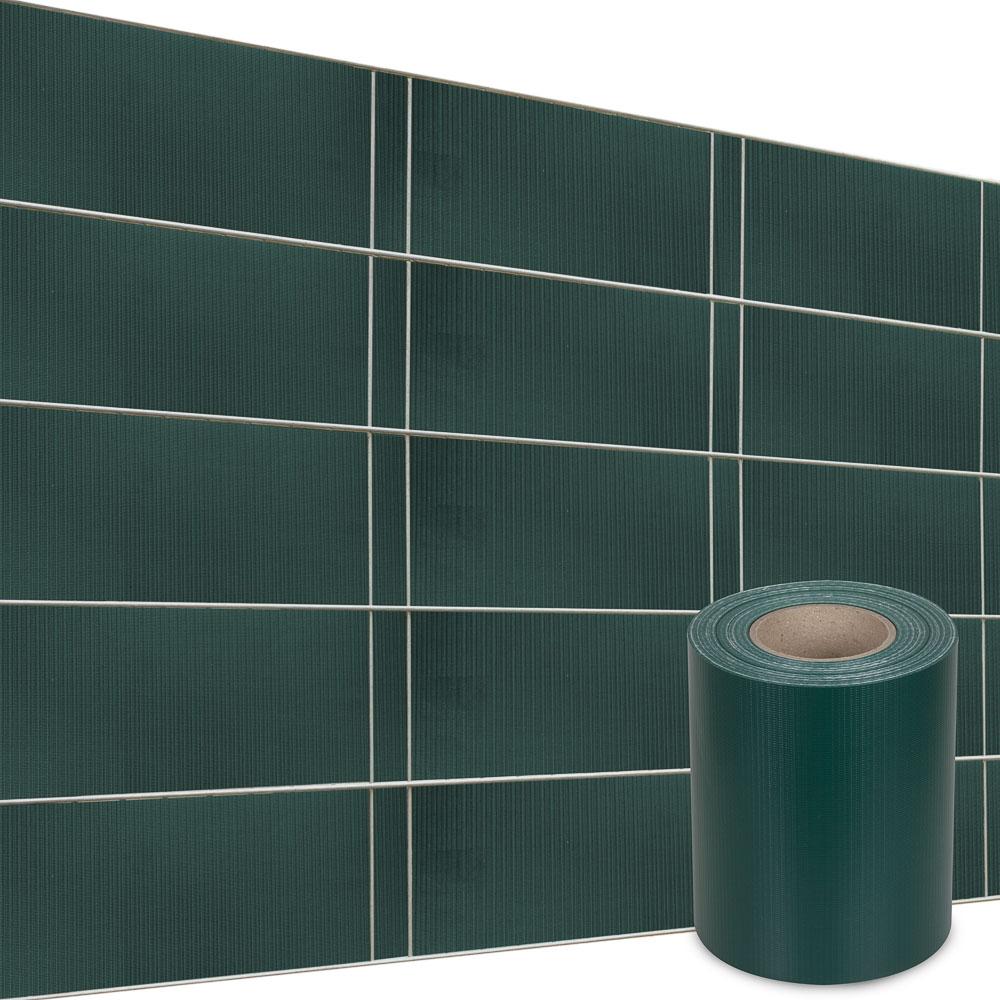 PVC-Sichtschutzstreifen-Uni-und-Muster-35-m-30-Befestigungsclips