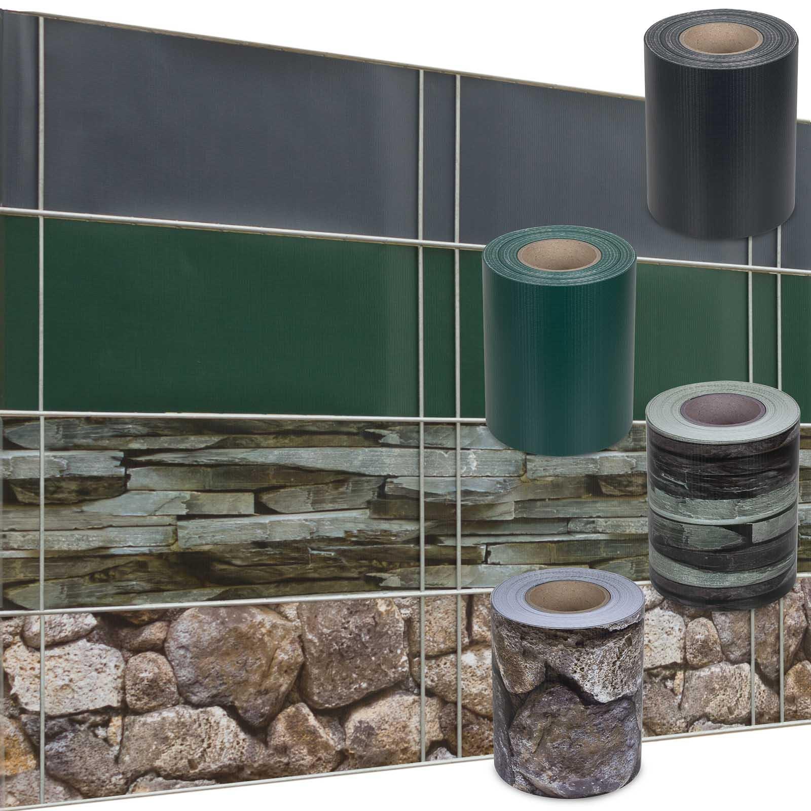 PVC Sichtschutzstreifen Uni und Muster 35 m 30 Befestigungsclips