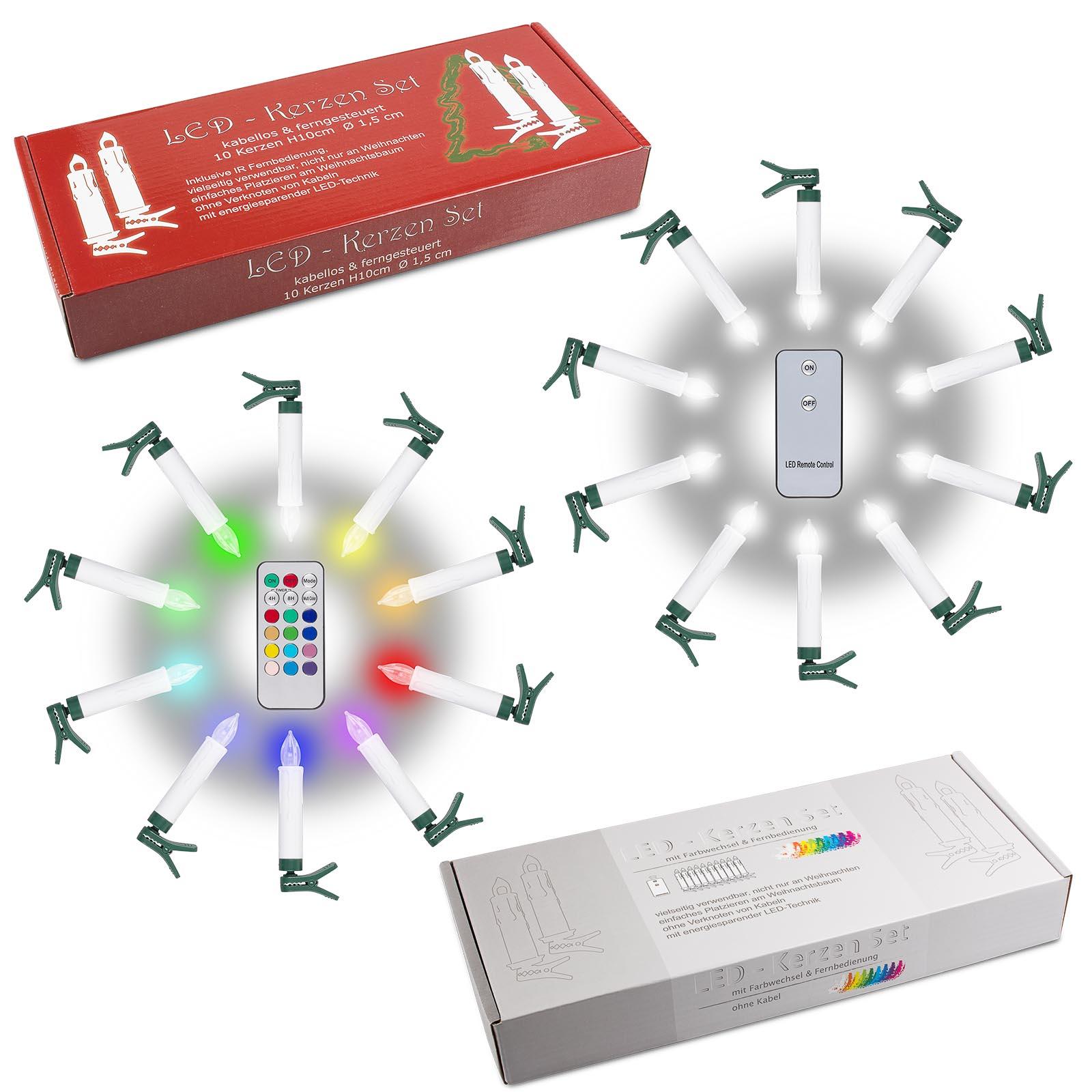 LED-Kerzen_bunt_und_weiss Wunderschöne Led Lichterkette Kabellos Mit Fernbedienung Dekorationen